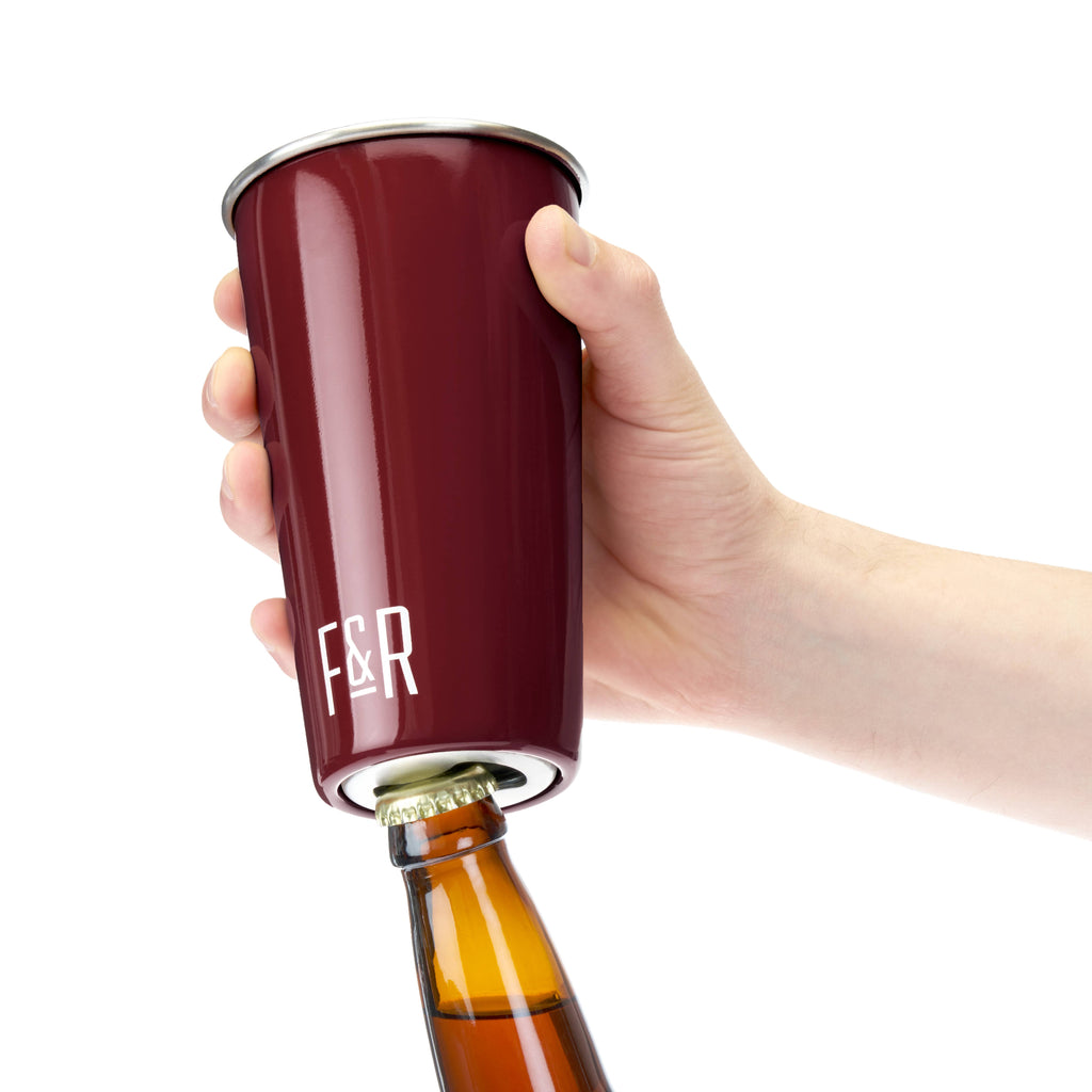 Foster & Rye - Bottle Opening Pint Cup Set - Burgundy