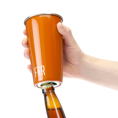 Foster & Rye - Bottle Opening Pint Cup Set - Orange