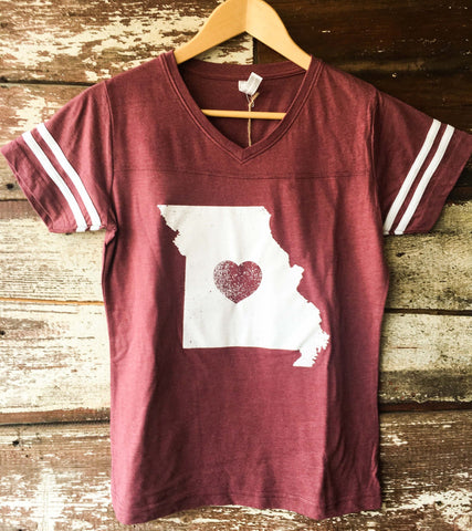 Missouri Heart Football V-Neck (Women's)