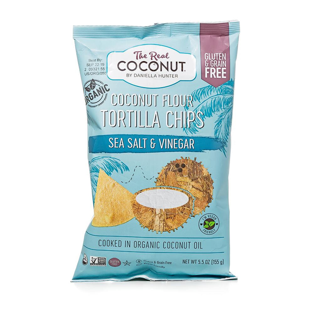 SEA SALT & VINEGAR Organic Coconut Flour Tortilla Chips 155g (6 Packs)