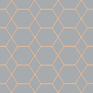 Casca Geometric Wallpaper Slate/Copper Muriva 147506