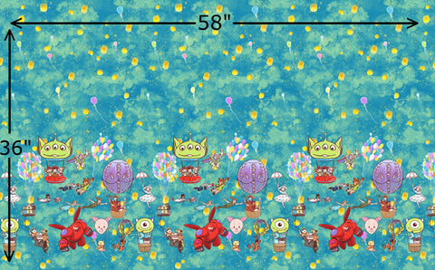 "R42 - Balloons Border Print 32"" - (Choose Fabric Base)  Available Now"