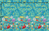 "R42 - Balloons Border Print small scale (24""x38"") - (Choose Fabric Base) Pre Order"
