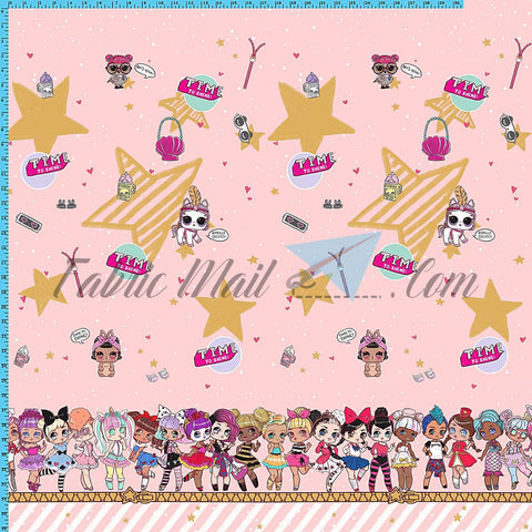 "R40 - Surprise Dolls Border Print Approximately 34""xwof (Choose Fabric Base) Available Now"