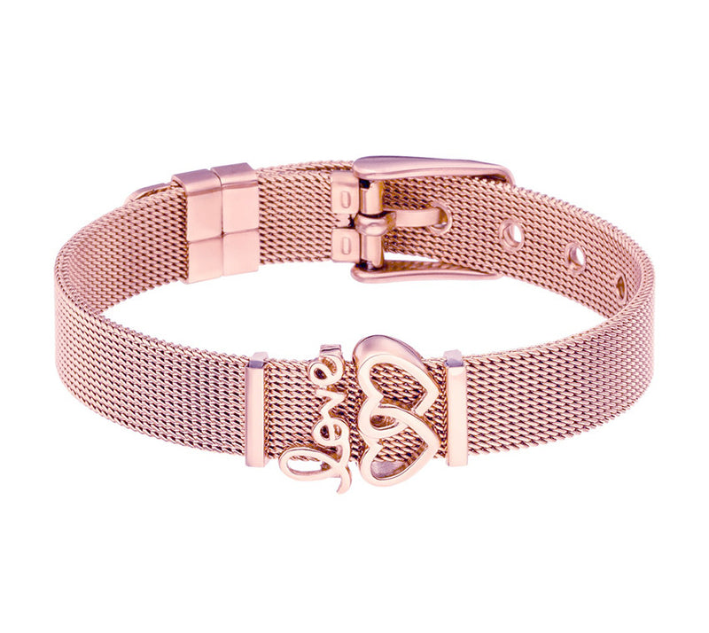 Meshbracelet Love Rose