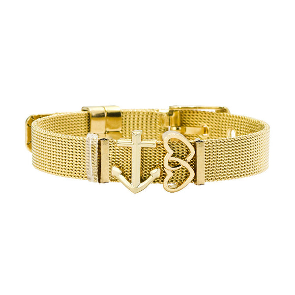 Meshbracelet Anchor Gold