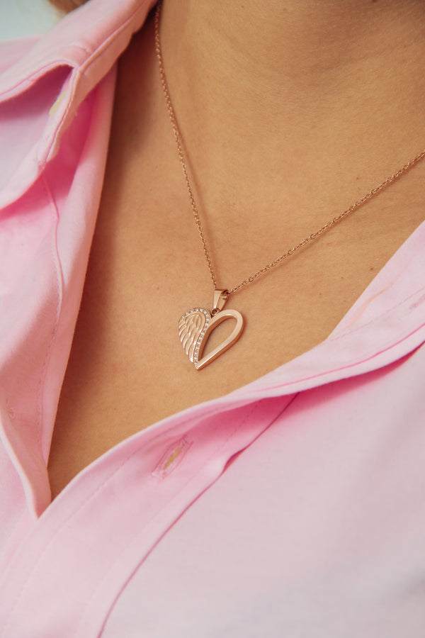 Necklace Angel Heart Rose