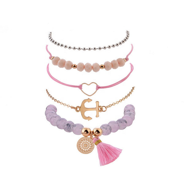 Bracelet Set Anchor Pink