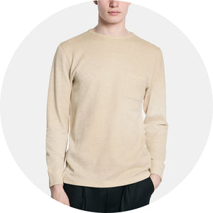 James Long Sleeve Double Knit Wool T‑Shirt