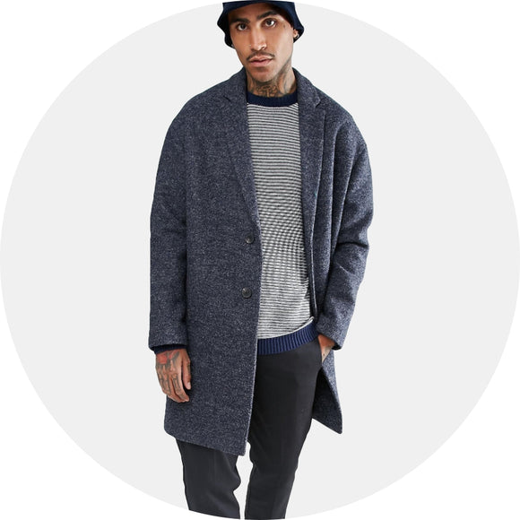 Wool Mix Drop Shoulder Overcoat