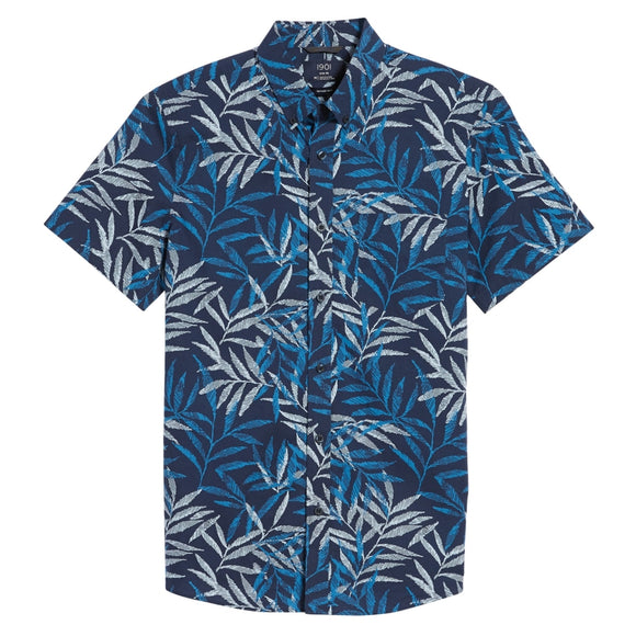 Trim Fit Print Short Sleeve Sport Shirt