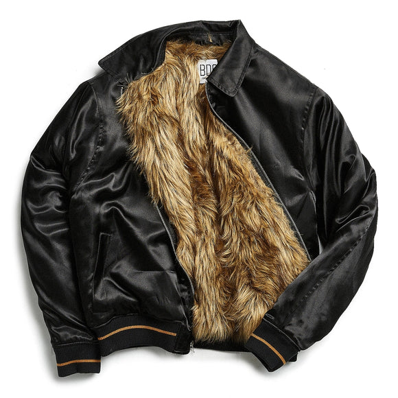 Satin Faux Fur-Lined Bomber