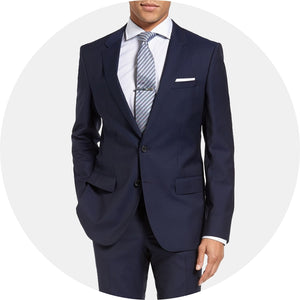 Huge/Genius Trim Fit Navy Wool Suit