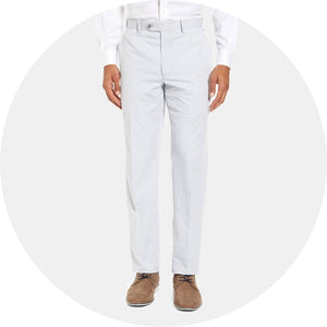 Flat Front Stripe Cotton Blend Chino