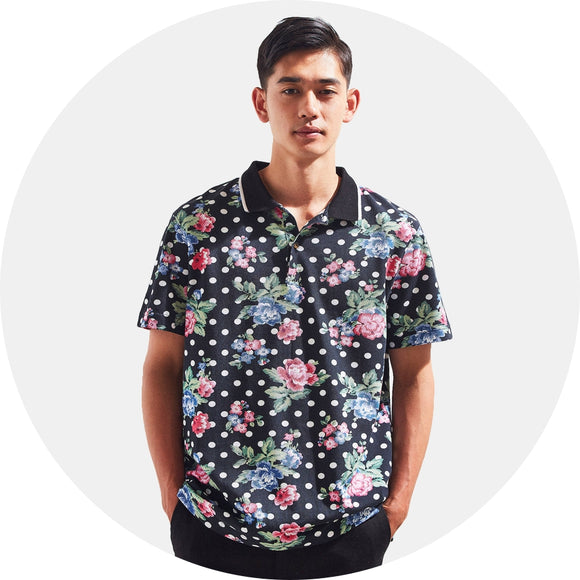 Floral Print Piqué Cotton Polo