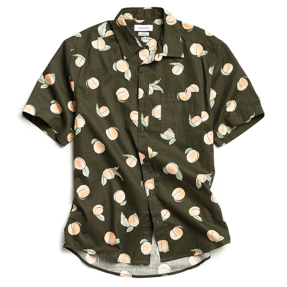 Cartoon Peaches Short Sleeve Button-Down Shirt
