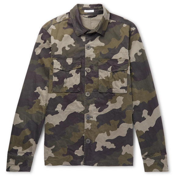Slim-Fit Camouflage-Print Stretch-Cotton Overshirt