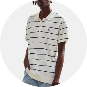 Striped Knit Cotton Polo