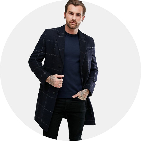 Checked Wool Mix Overcoat