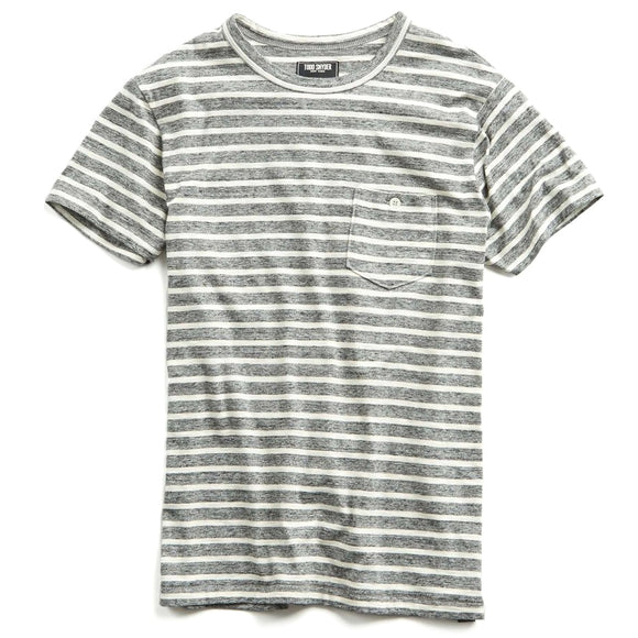 Wide Stripe Button Pocket Tee