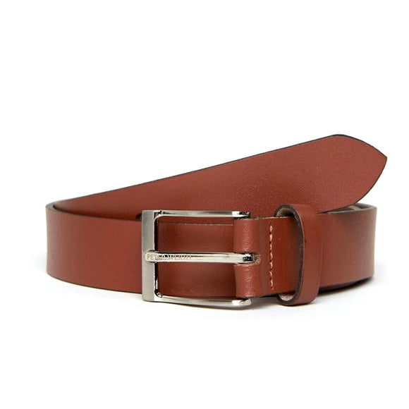 Leather Belt With Nickel Buckle