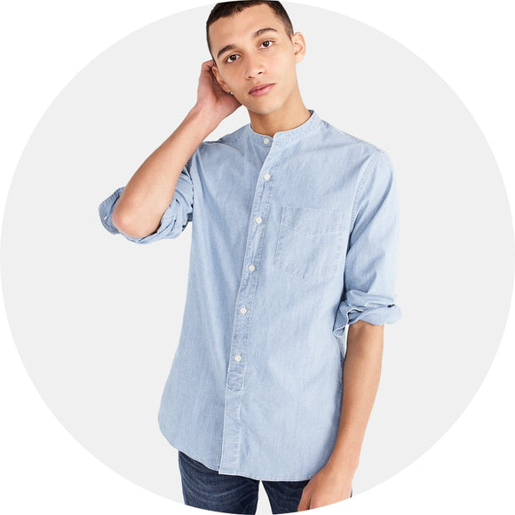 Stretch Chambray Band Collar Shirt