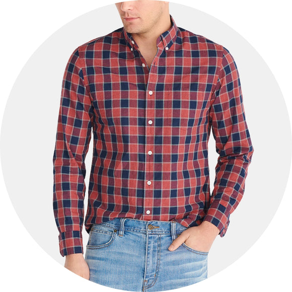 Slim Heather Washed Gingham Button-Down Shirt