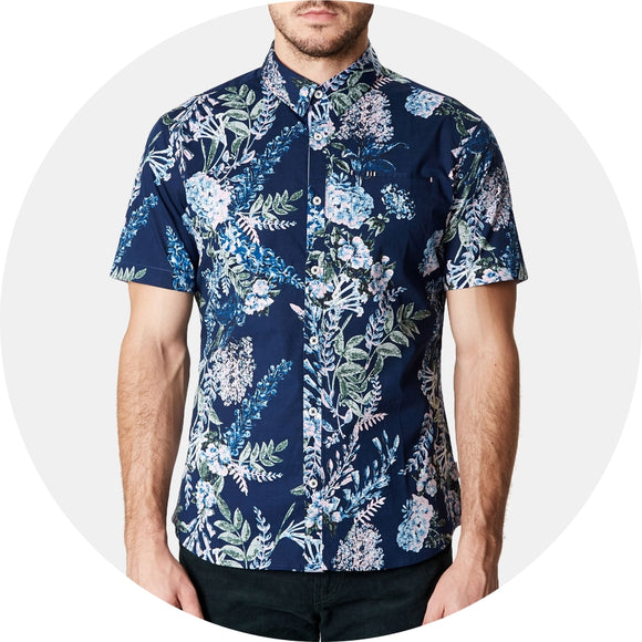 Conversation Peace Floral Short Sleeve Sport Shirt
