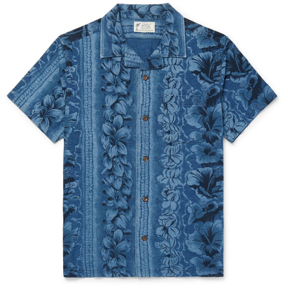 Camp-Collar Floral-Print Cotton Shirt