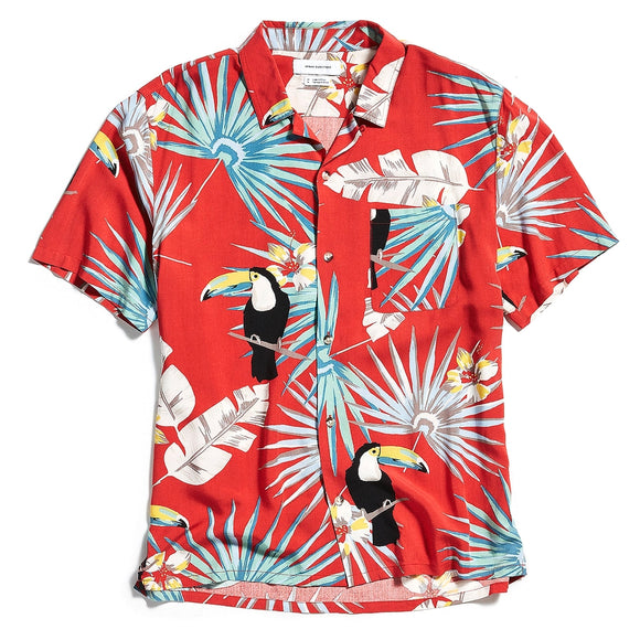 Electric Toucan Rayon Short Sleeve Button-Down Shirt