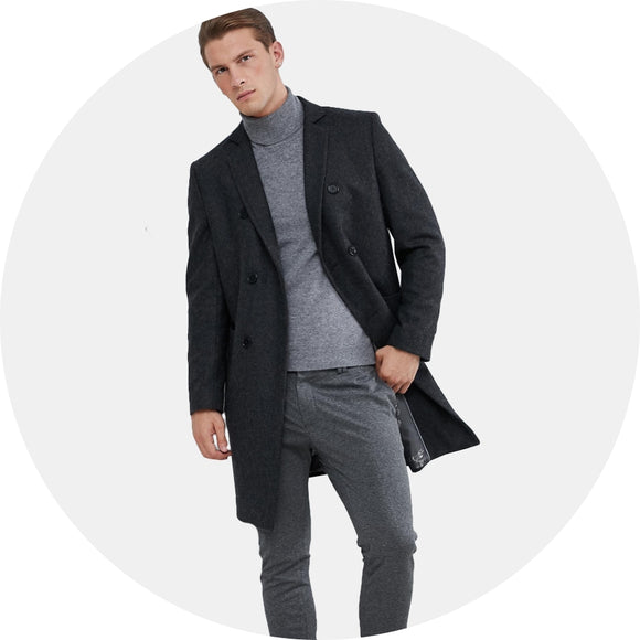 Double Breasted Wool Mix Overcoat