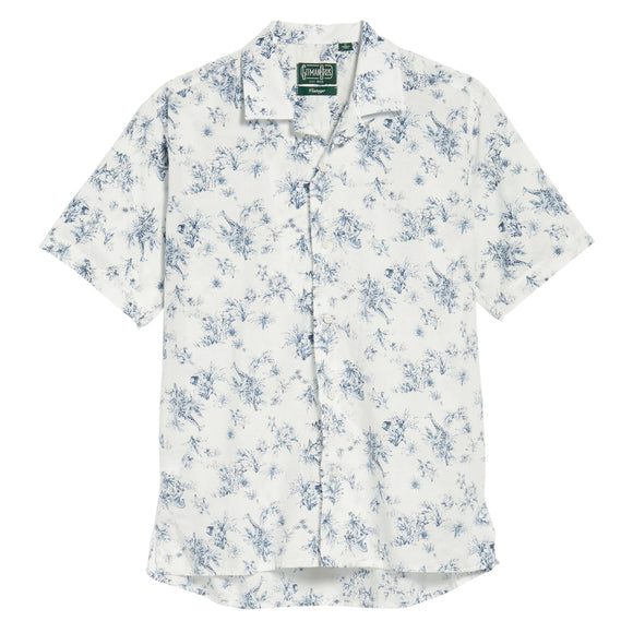 Trim Fit Safari Print Camp Shirt