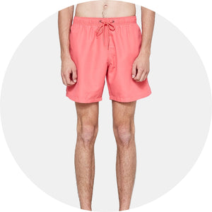 Coral Red Mid Length Swim Short
