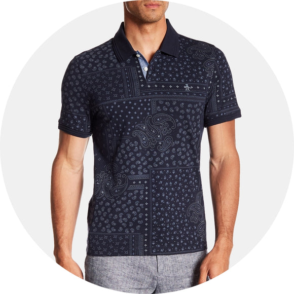 Paisley Print Slim Fit Cotton Polo