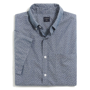 Short-Sleeve Printed Chambray Shirt