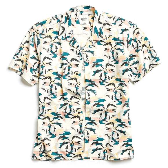 Palm Tree Short Sleeve Button-Down Shirt
