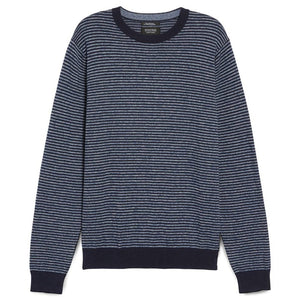 Stripe Cotton and Cashmere Crewneck Sweater