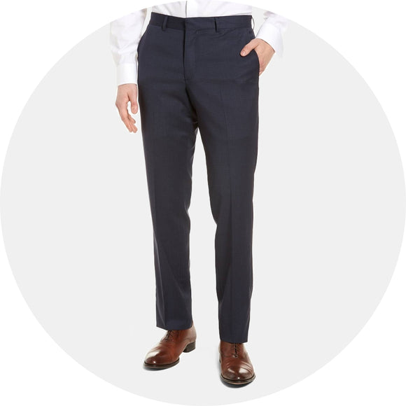 Tech-Smart Check Flat Front Stretch Wool Chino