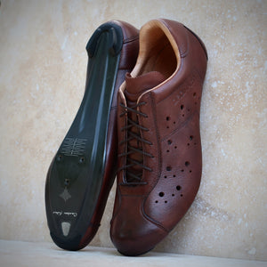 Dromarti lace up leather Race Carbon vintage brown road shoes.