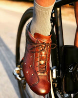 Brown leather and carbon retro cycling shoes