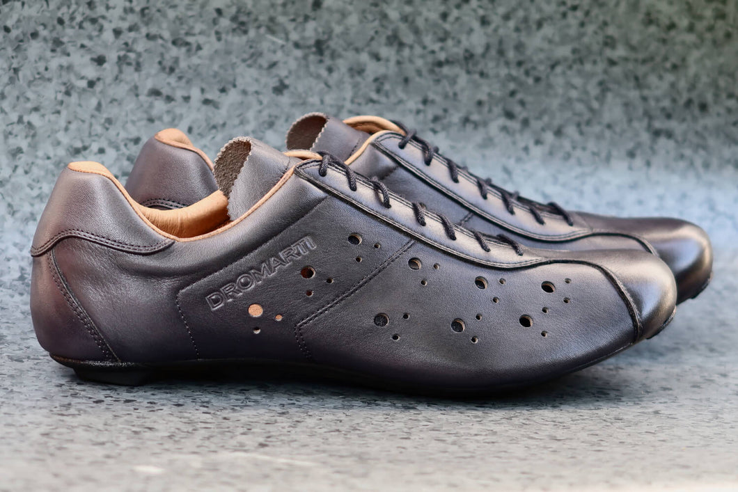 Grey leather road bike shoes