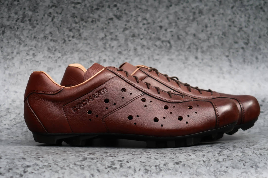 Sportivo Gravel. Leather cycling shoes. SPD. Brown & tan. | DROMARTI