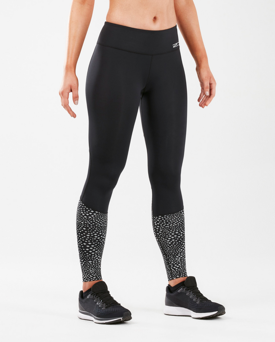 2XU Reflect Run Mid-Rise Compression Tights - 2XU - Flaming Pink