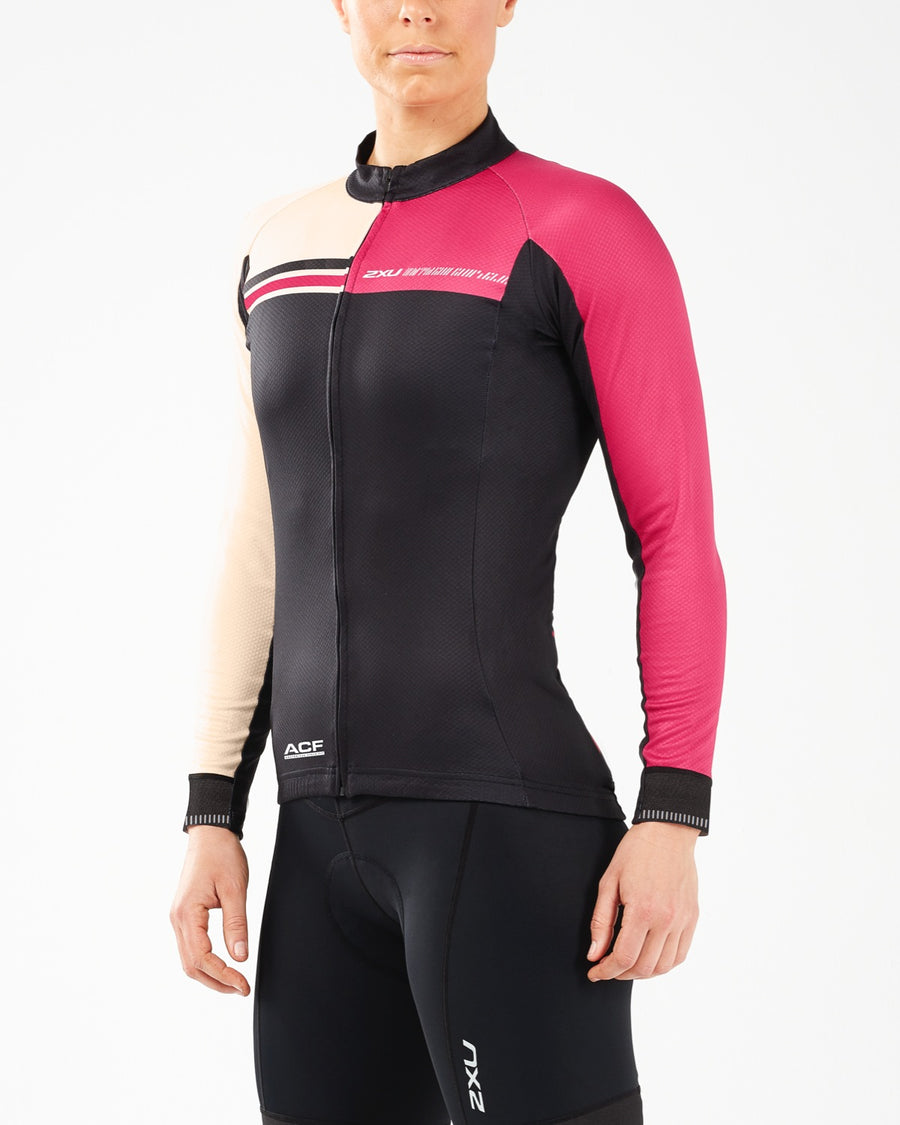 2XU Long Sleeve Thermal Cycling Jersey Pink - 2XU - Flaming Pink