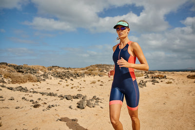 Zone3 Women's Aquaflo+ Trisuit Navy/Coral - Zone3 - Flaming Pink