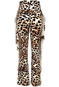 Cheetah Side Ruffle Bell-Bottom Pants