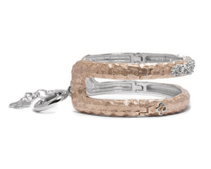 Rose Moon Frostbite left view | Silver Plated in Rose Gold Bracelet for Women | Kukka Jewelry