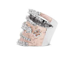 Rose Moon Orbit left view | 18kt Rose Gold Plated Ring for Girls | Kukka Jewelry