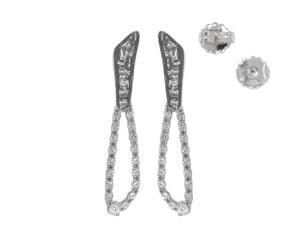 Women's White Rhodium Plated Earrings | Moon Space-Diva full view | Kukka Jewelry