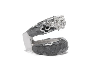 Ring for Her | Moon Frostbite left side view | White Rhodium | Kukka Jewelry""